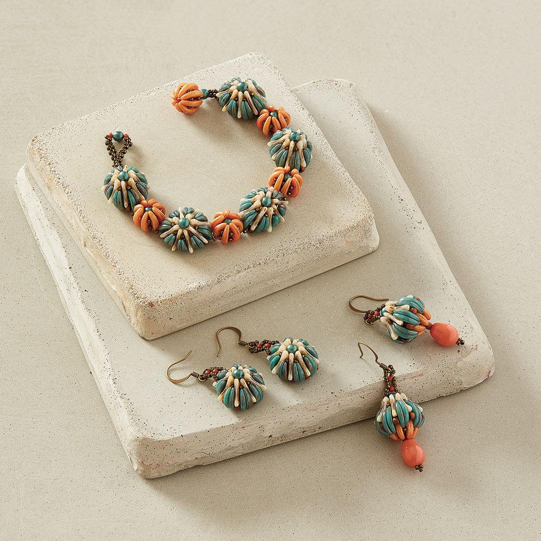 Ocean Flowers Bracelet by Agnieszka Watts uses crescent beads shaped beads