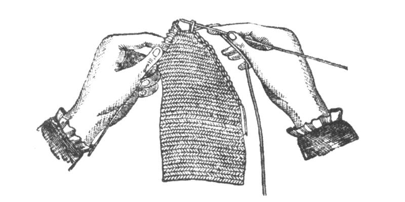 Illustration of casting off from Weldon's Practical Needlework, Volume 1.