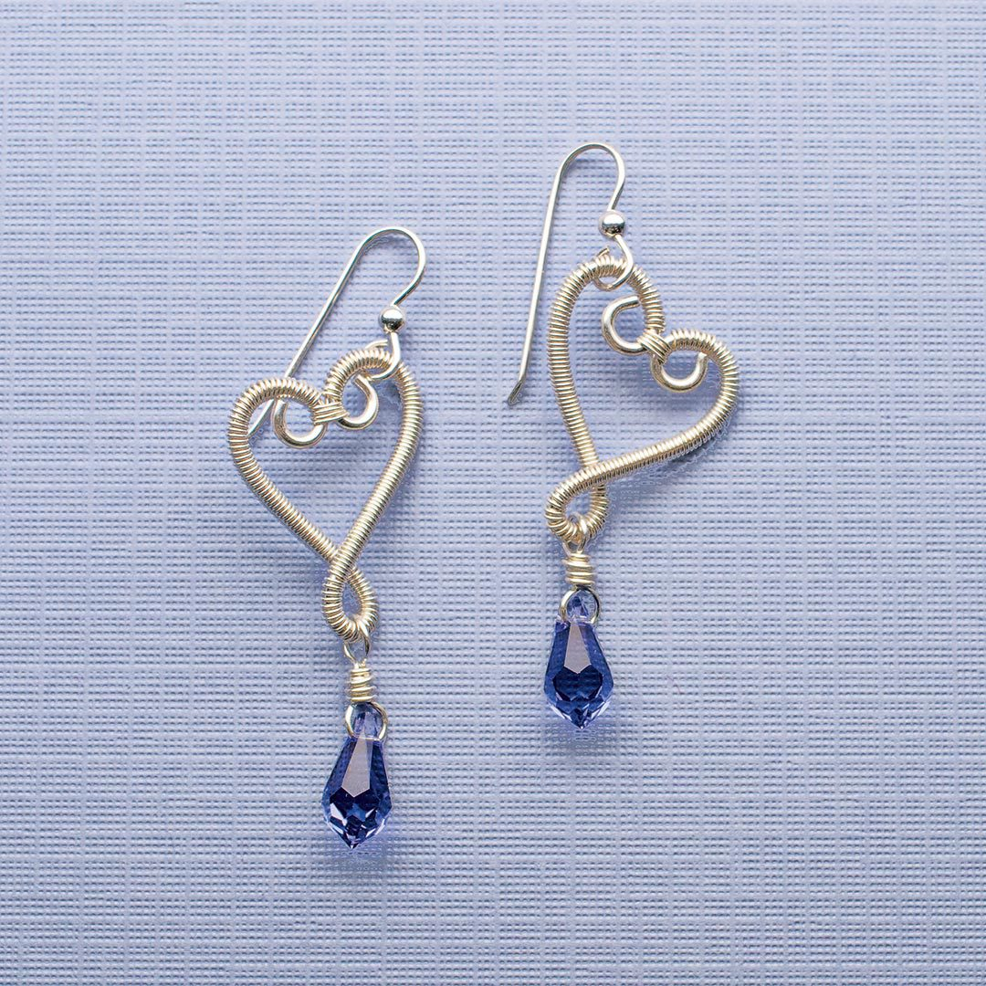 Whimsy Hearts Earrings from Step by Step Wire Jewelry, October/November 2010