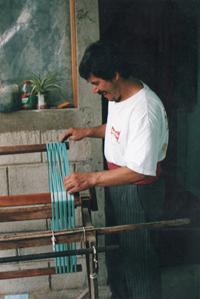 Winding the yarn for jaspe