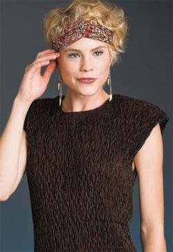 Woven shibori sheath dress by Teresa Kennard