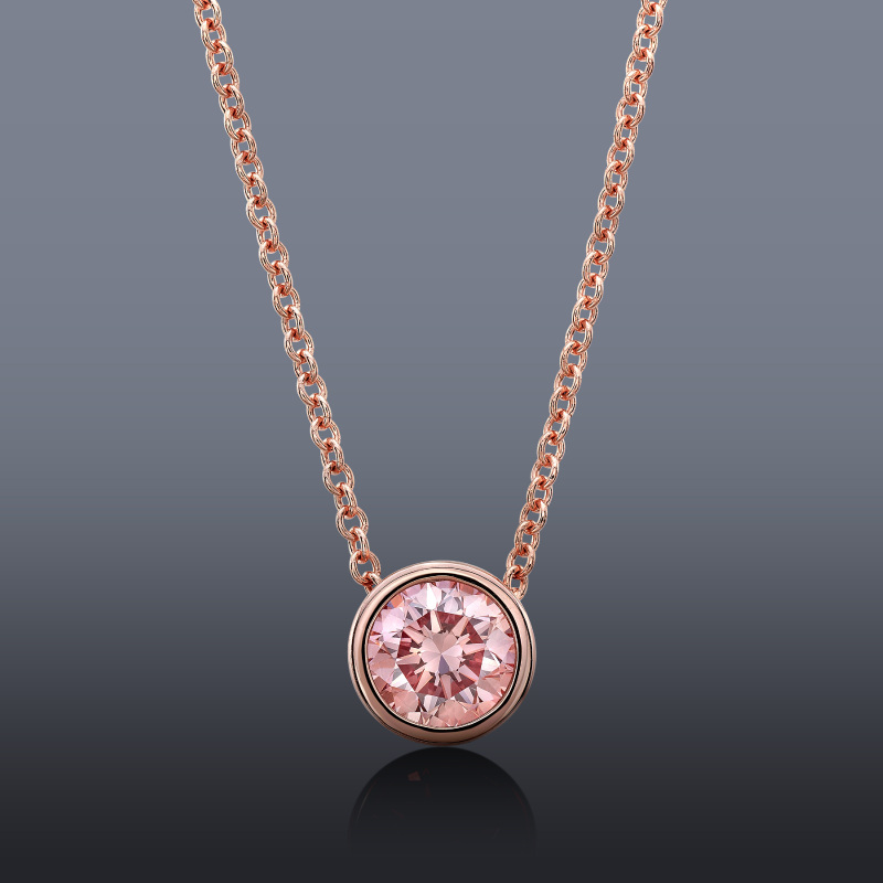 Rose gold is the perfect setting for this pink .55 ct lab-grown diamond. Pink diamonds are one of the hottest gemstones on the market right now. Photo courtesy Yates Jewelers, Modesto, California.