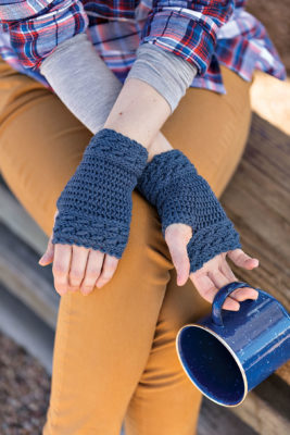 Apple Picking Mitts Crochet Kit - Front and Back detail