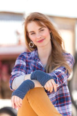 Apple Picking Mitts Crochet Kit - Styled Shot