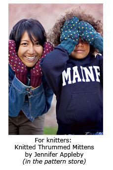 Knitted thrummed mittens by Jennifer Appleby in Interweave.