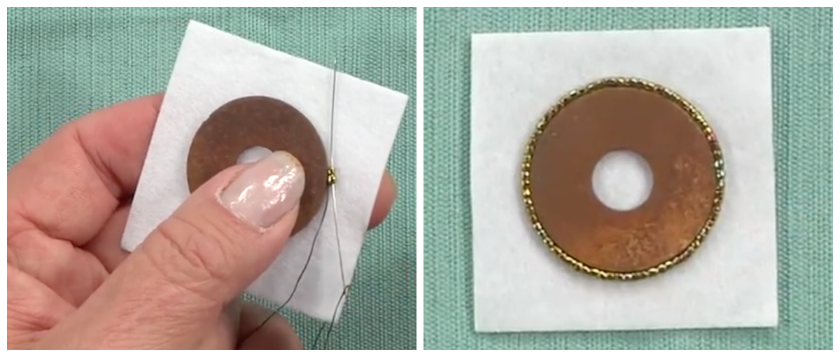 A simple beaded backstitch starts to transform a rusty washer into an eye-catching component.