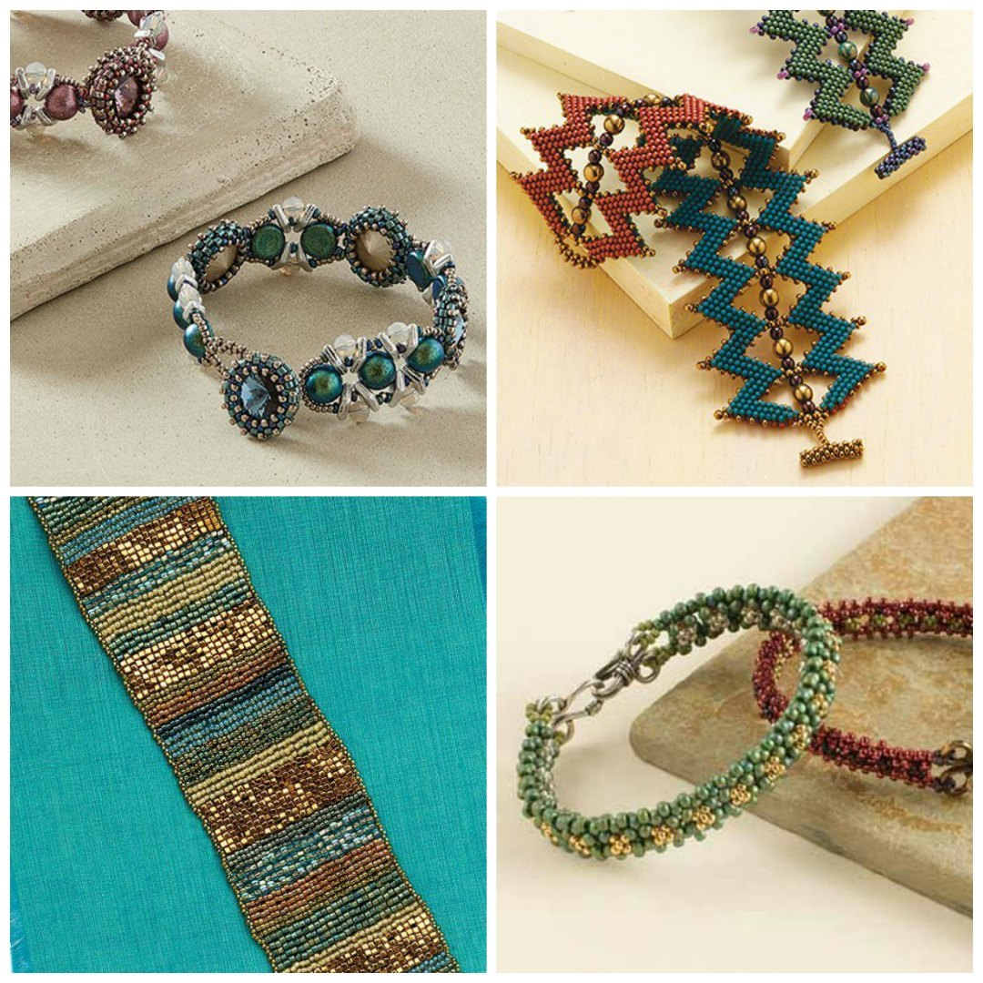 For peyote-stitched inspiration, check out some of Melinda Barta's project downloads! Clockwise from top left: Eleanor Bracelet, Sawtooth Cuff, This and That Bracelet, and Ruffled Tapestry Cuff.