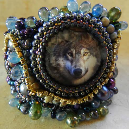 Bead embroidered cuff, by Sherry Serafini