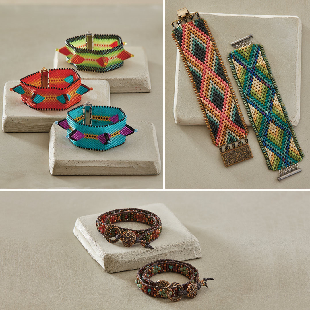 Wendy Ellsworth's Agave Cuff, Michelle Gowland's BARGello Bracelet, and Amy Haftkowycz's Melon Delight Wrap Bracelet