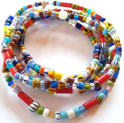 Modern African trade beads strung on stretchy cord for a fun beaded bracelet