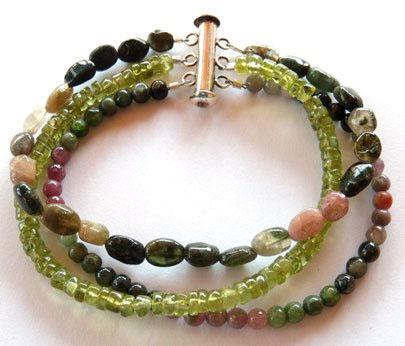 Tourmaline and peridot gemstone beads combined for a luscious 3-strand beaded bracelet