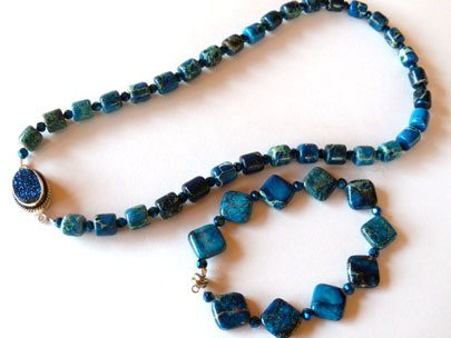 Blue impression jasper beads in two shapes combined with Chinese crystal rounds for a fabulous set of beaded jewelry