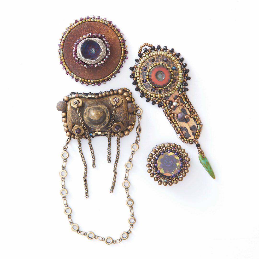 Sherry Serafini's creative works of bead embroidery come alive with found objects.