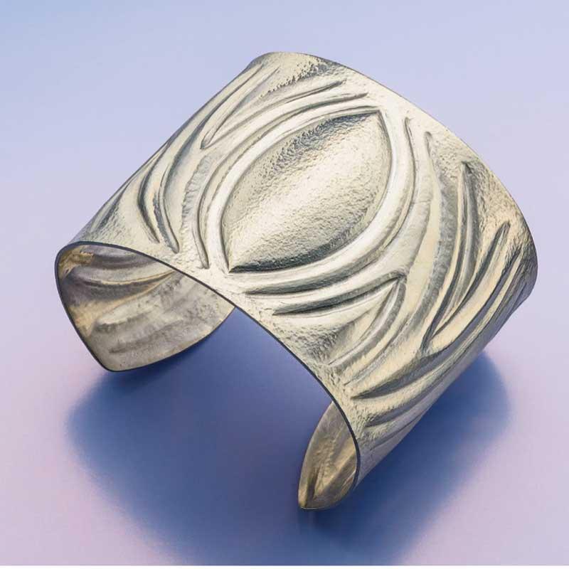 Chased silver cuff bracelet by Tom & Kay Benham
