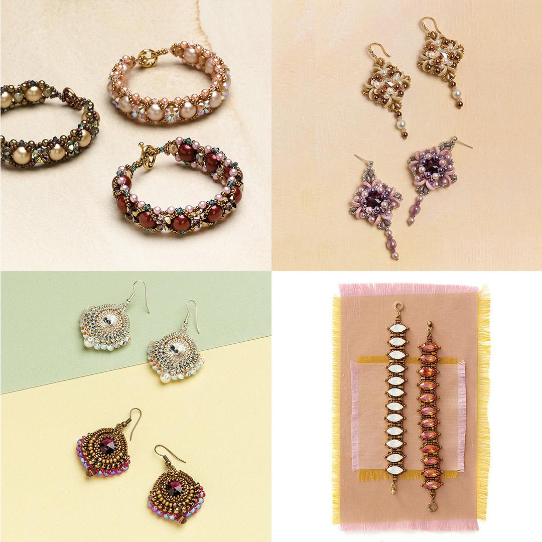 Clockwise from top-left: Xs and Os Bracelet, Incanto Earrings, Enchanted Rivoli Earrings, Pompadour Bracelet