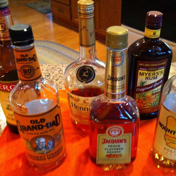 The liquor assortment needed for Merle's famous eggnog.