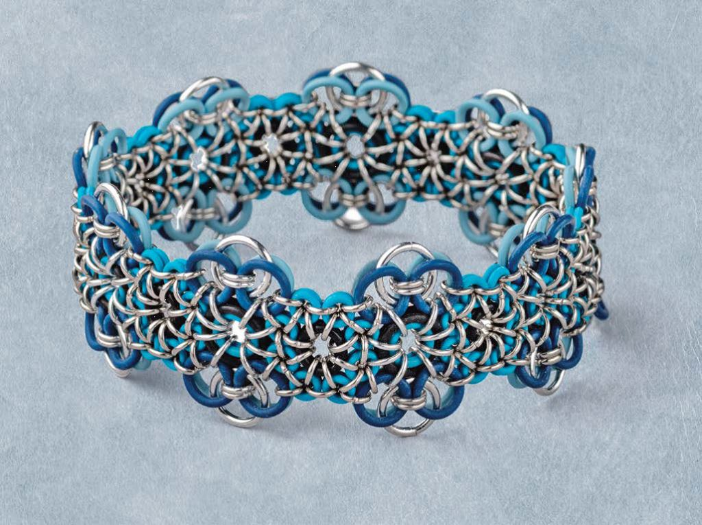 Wouldn't a colorful, one-size-fits-most bracelet make the perfect jewelry gifts? Designer Michelle Brennan has also put together a conveniently packaged, complete supply kit for her Stretchy Chain Maille bracelet pattern, available now only from Interweave. Photo: Jim Lawson