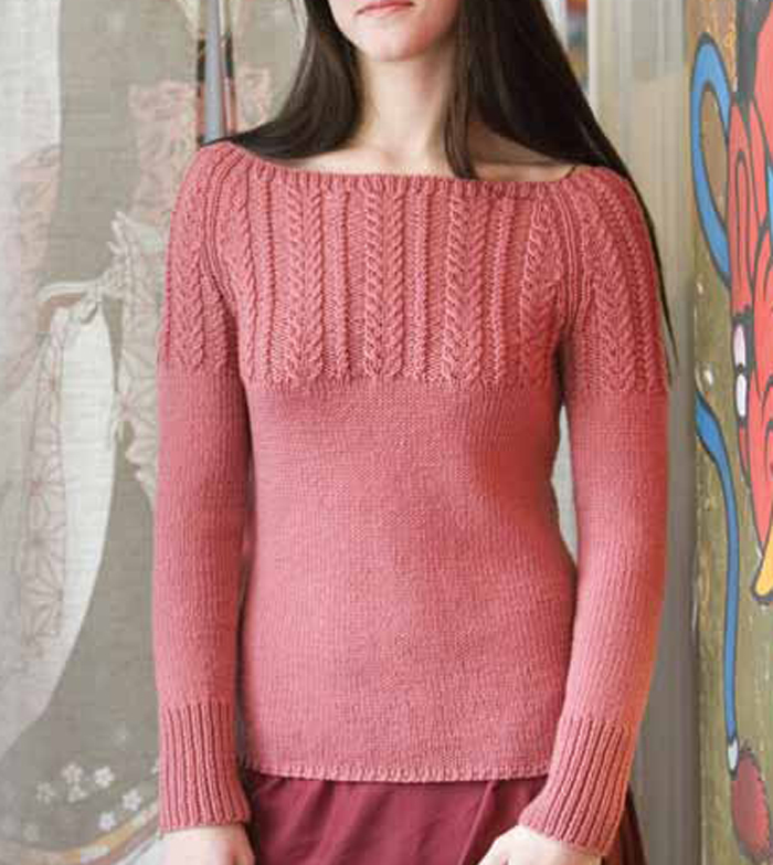 f38aff3a9067df Learn how to knit this cable pullover sweater pattern  Wheat-ear Cable Yoke.