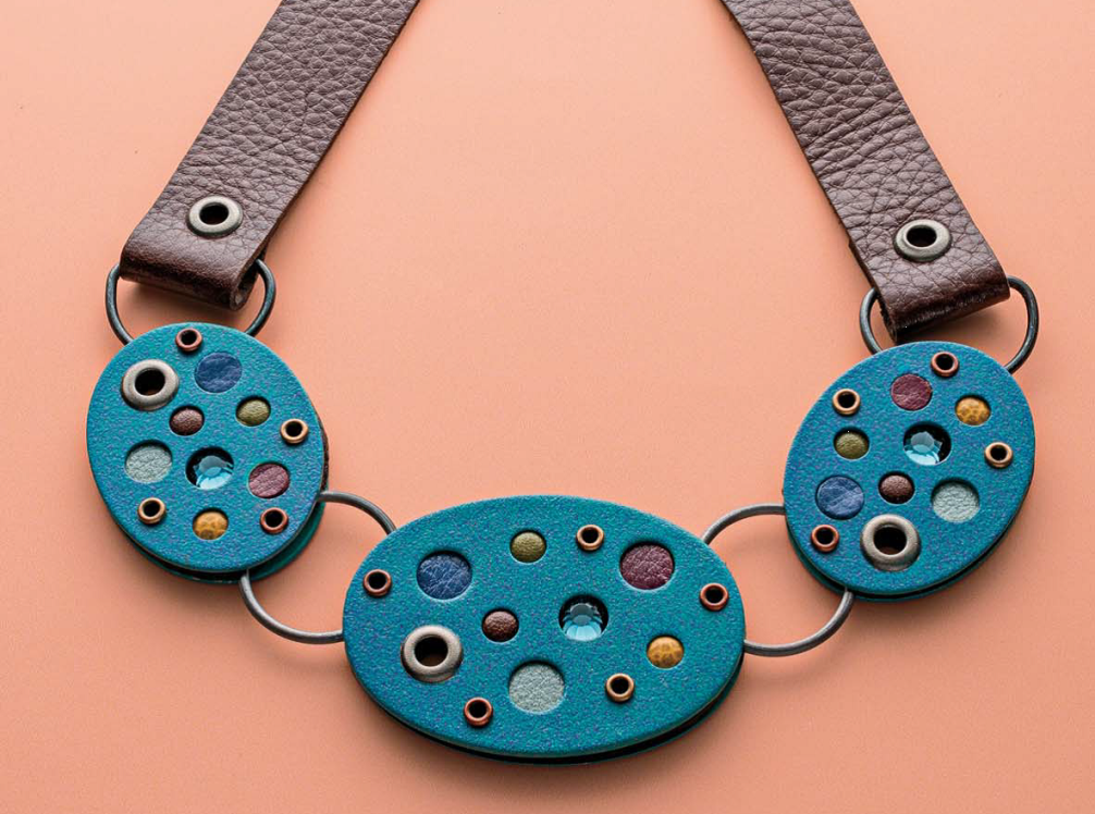 Melissa Cable's leather necklace jewelry design featuring circles