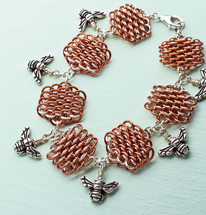 Use wire rings to create this stylish honeycomb chain maille bracelet in this FREE ebook that includes 4 chain maille jewelry projects.