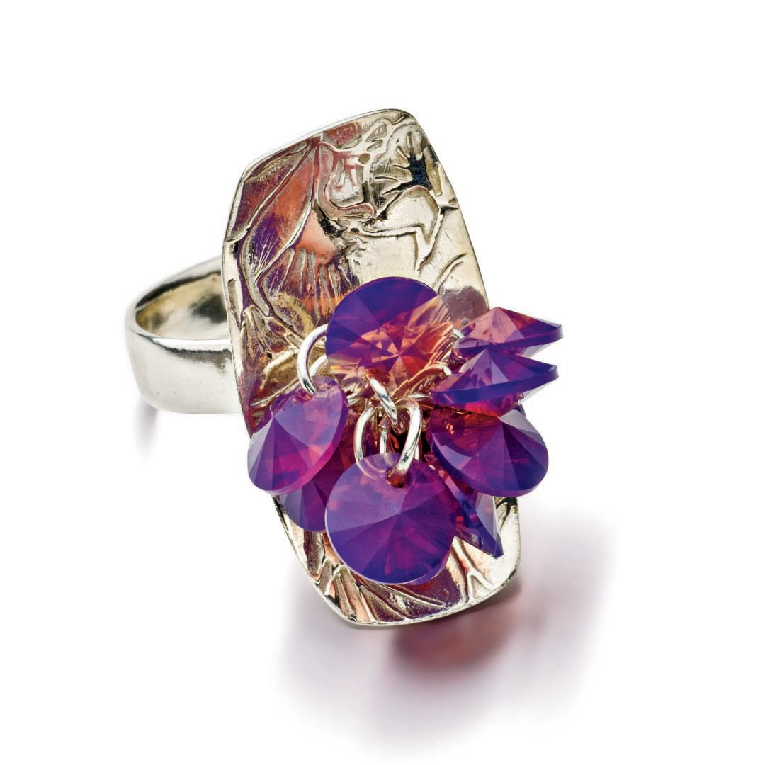champagne cocktail ring with Swarovski crystals by Tammy Honaman