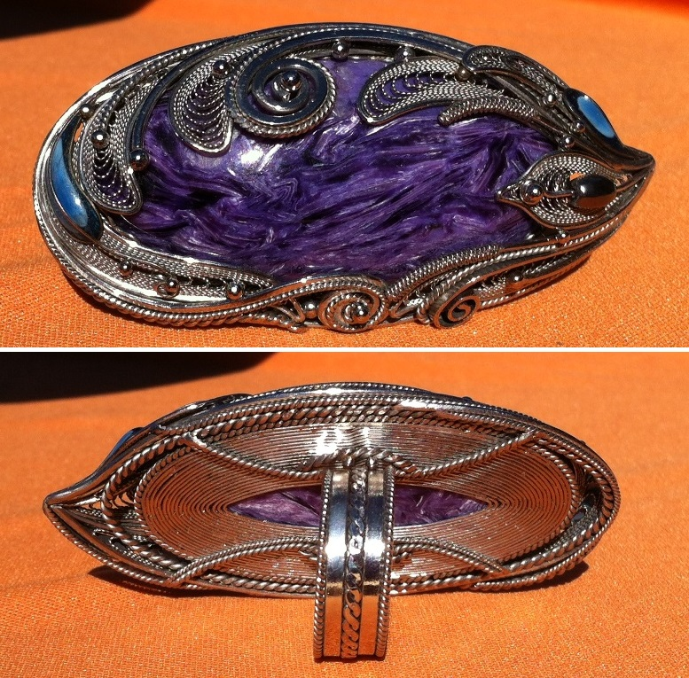 charoite wire filigree ring front and back, Uvon Chalenkov, Tucson shows