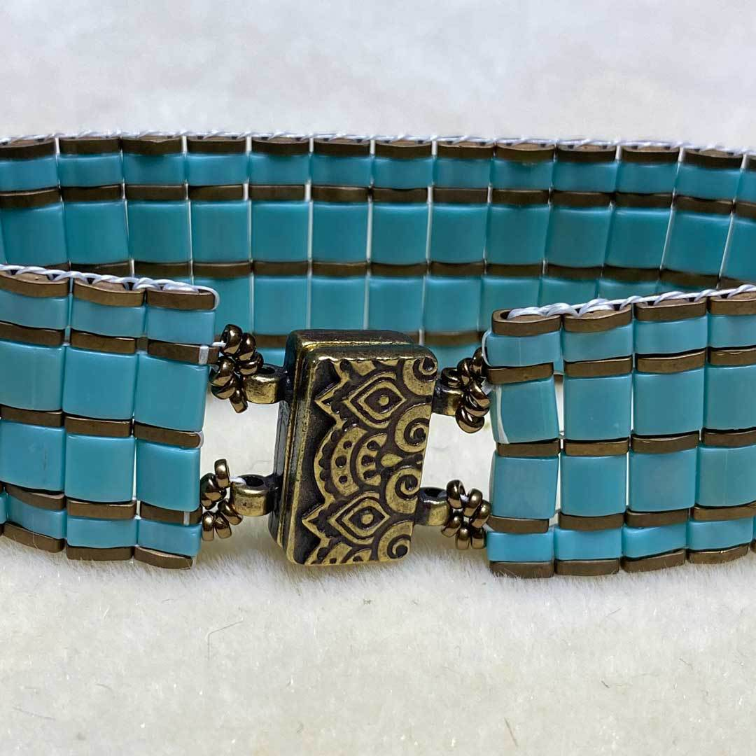 finished beaded bracelet looming tila beads