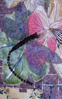 Close up of beaded dragonfly from Japanese Scroll, Nancy Eha