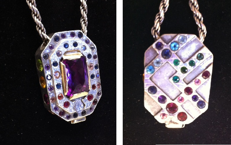 colored stone pendant plus, front and back, Naked Matrix Minerals, Tucson shows