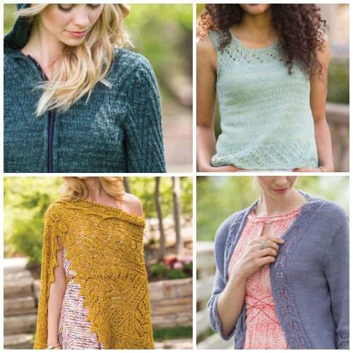 Clockwise from top left: Lochlan Chevron-Stitch Hoodie, Dorthelia Lace-Edged Tank, Temple Cable-Edged Cardigan, Junius Shaped Shawl