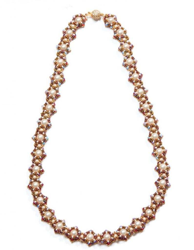 Bead Royale eBook by Cristie Prince. Corona Necklace. bead weaving with seed beads and crystals
