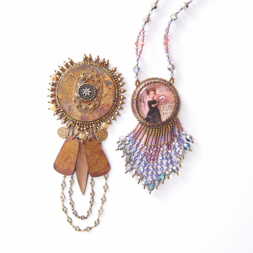 Picot edging, chain fringe, and counted fringe bring a sense of cohesion to Sherry's finished pieces.