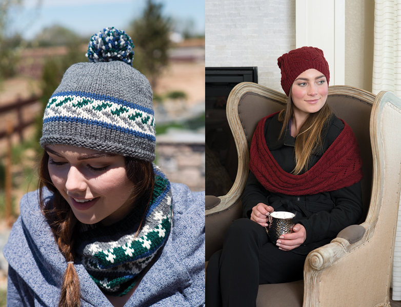 Hat and cowl sets for adult women.