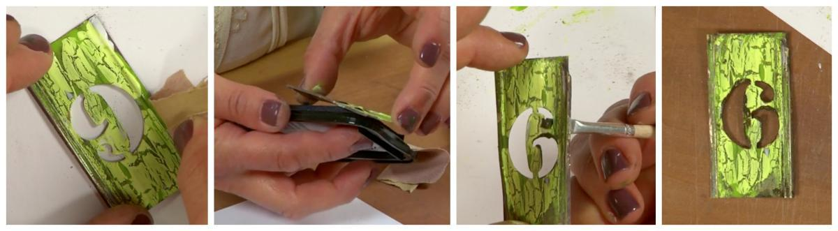 Finishing touches give the piece a realistic, genuine feel. Try sanding to reveal parts of the metal beneath and applying ink or paint to define edges.