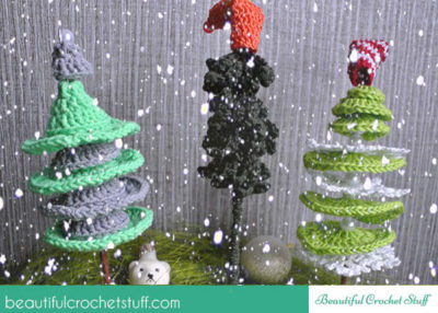 Crochet Christmas trees free pattern.