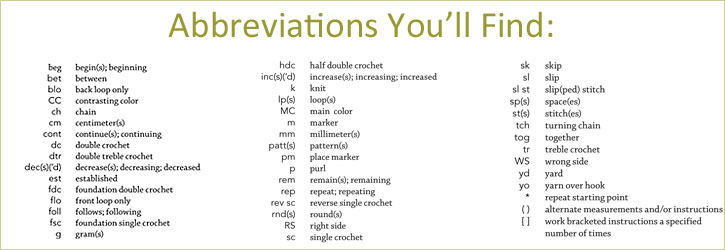 Crochet stitches abbreviations for you to learn so as to interpret the language of crochet...all found in this FREE eBook.