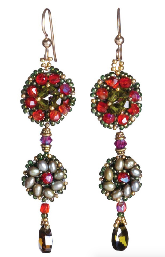 Crystal Flowerette Earrings, 10 Projects by Designer of the Year Marcia DeCoster, right-angle weave, beadweaving, how to make jewelry with beads.