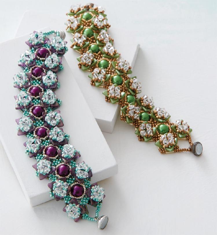 Beading pattern, Crystal Garden Bracelet, by Evelina Palmontová