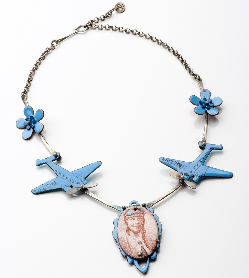 Amelia necklace, Argentium sterling silver, traditional sterling silver, enamel; photo: Randy Parietti