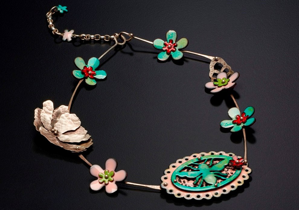 Disappearing Bee necklace, enamel on copper, Argentium sterling silver; photo: Randy Parietti