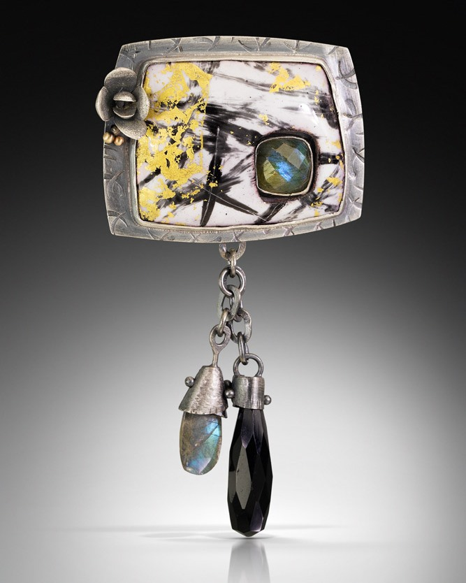 When Kirsten does use a pricey material like gold, it's often just a splash. Pendant/brooch, enamel on copper with 24K gold leaf, set in silver with labradorite and black onyx, flower casting and 14K gold ball accents; sterling for the setting and Argentium sterling for the chain and balled wires (affiliate link). Photo: Cole Rodger