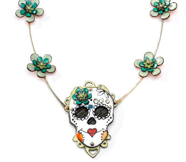 Sugar Skull necklace, enamel on copper, Argentium sterling silver neck chain; photo: Randy Parietti