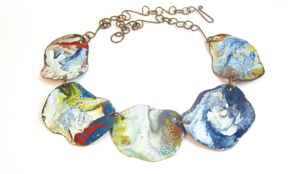 Colorful Chaos Dirty Pour Torch-Fired Enamel Bracelet by Karen Meador