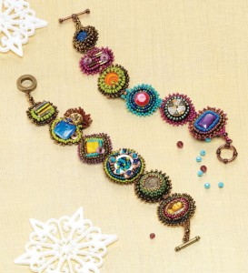 Learn how to make this beautiful, DIY mosaic bracelet with bead embellishments in our FREE eBook!