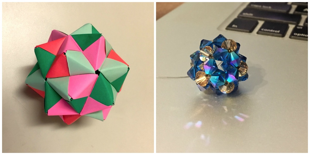 Left: My 30-piece origami ball, in which each group of five units forms a pentagonal star. Right: My 30-crystal dodecahedron, in which each group of five beads forms a pentagon.