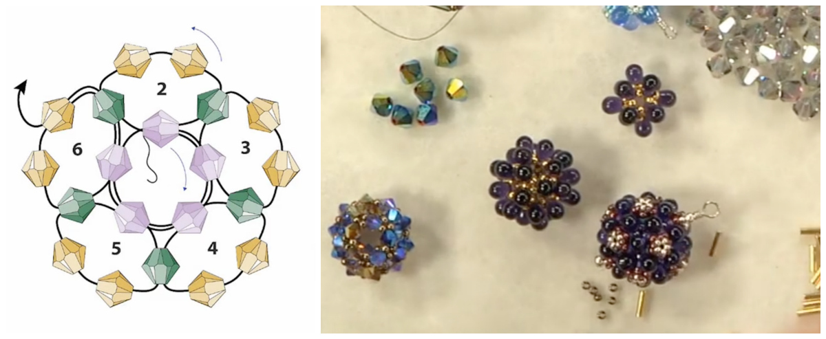 Cindy teaches a basic dodecahedron with 30 crystals before showing lots of fun variations.