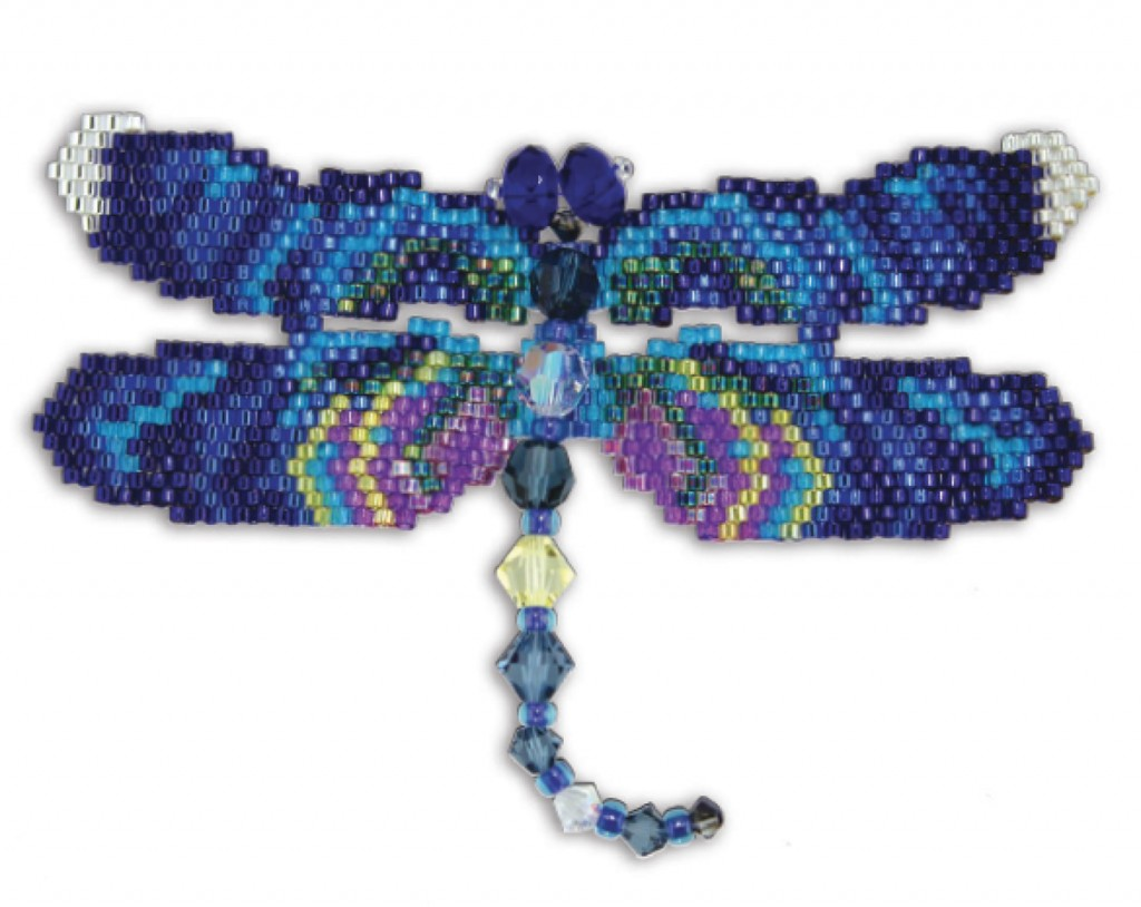 Greater Blue Winged Dragonfly, by Karen Parker, brick stitch, Delica seed beads