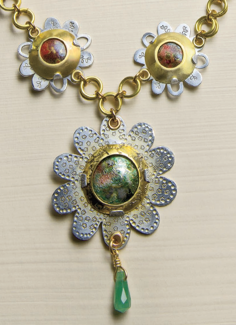 An exercise in enamelwork, stamping, setting, and more, Helen Driggs's Torch Fired Enamel Medallion Necklace appeared in <i>Lapidary Journal Jewelry Artist</i> September/October 2011; photo: Jim Lawson