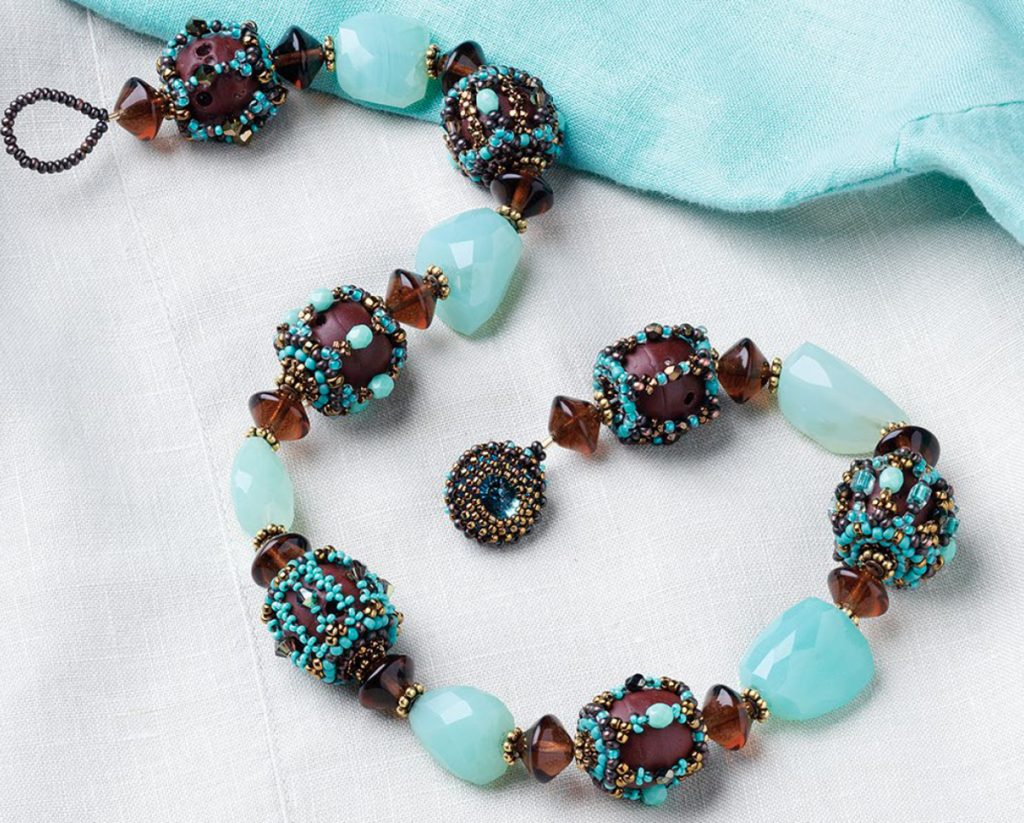 Earth and Sky Bracelet, 10 Projects by Designer of the Year Marcia DeCoster, right-angle weave, beadweaving, how to make jewelry with beads