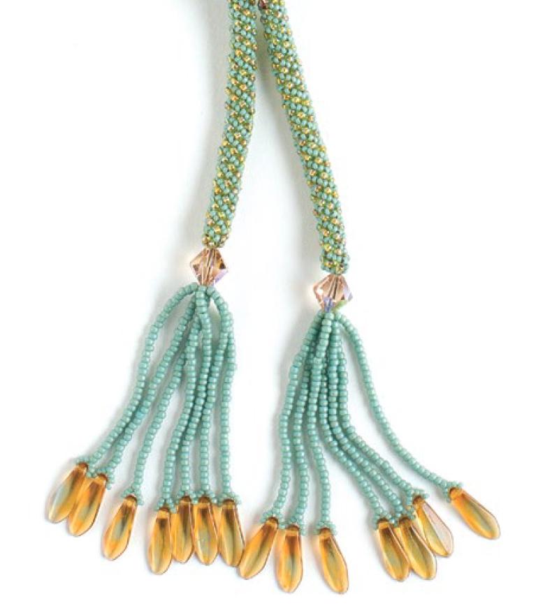 making earrings with beads, Earthen Treasure Pattern Bundle, beadweaving, Falling Leaves Lariat, Carole Horn